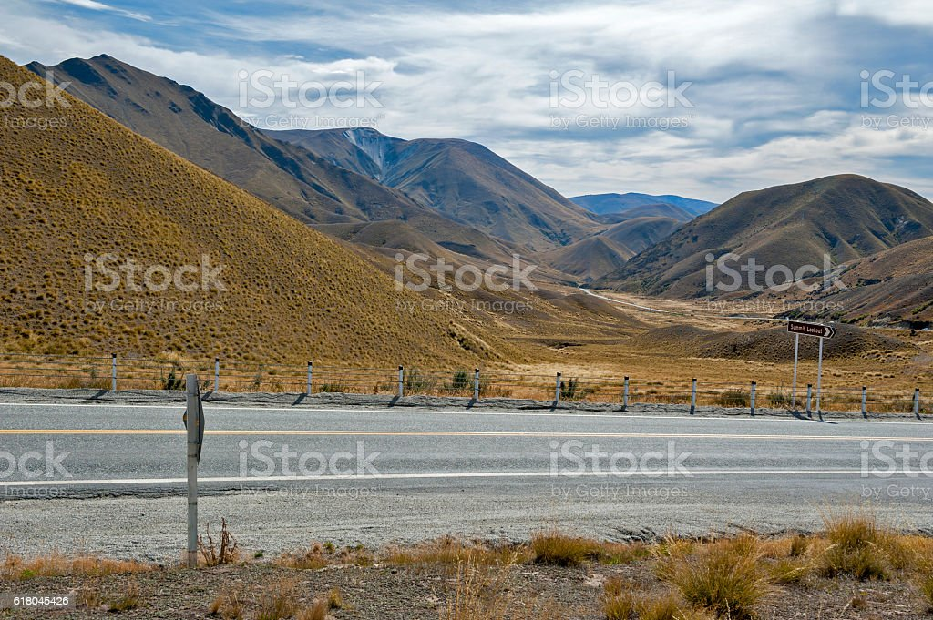 Lindis Pass,  south island of New Zealand stock photo
