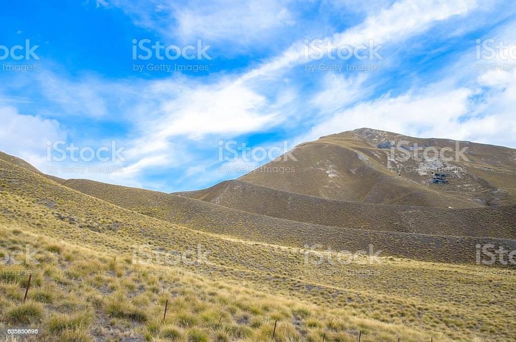 Lindis Pass view in south island,New Zealand. stock photo