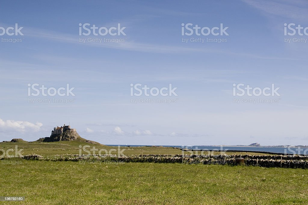 Lindisfane and Bamburgh castles royalty-free stock photo