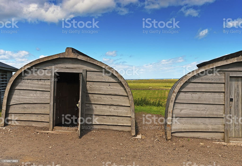 Lindisfarne Boat Hut royalty-free stock photo