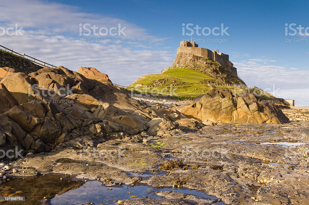 Lindisfarne Castle from the Rocks stock photo