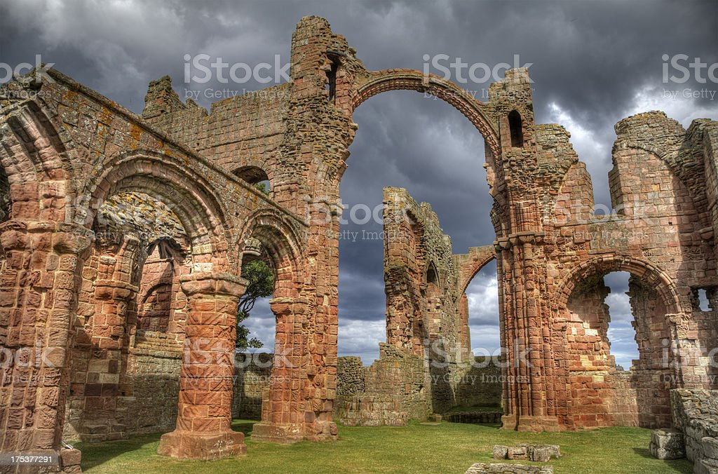 Lindisfarne Priory, Northumberland, after the storm stock photo