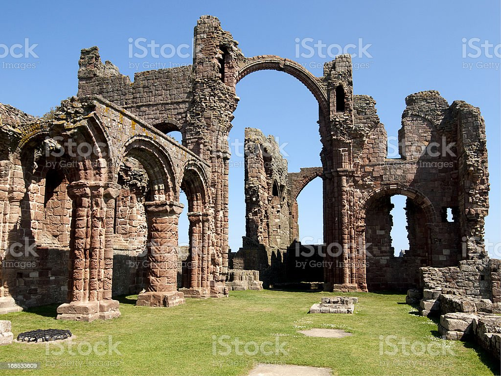 Lindisfarne Priory, Northumberland stock photo