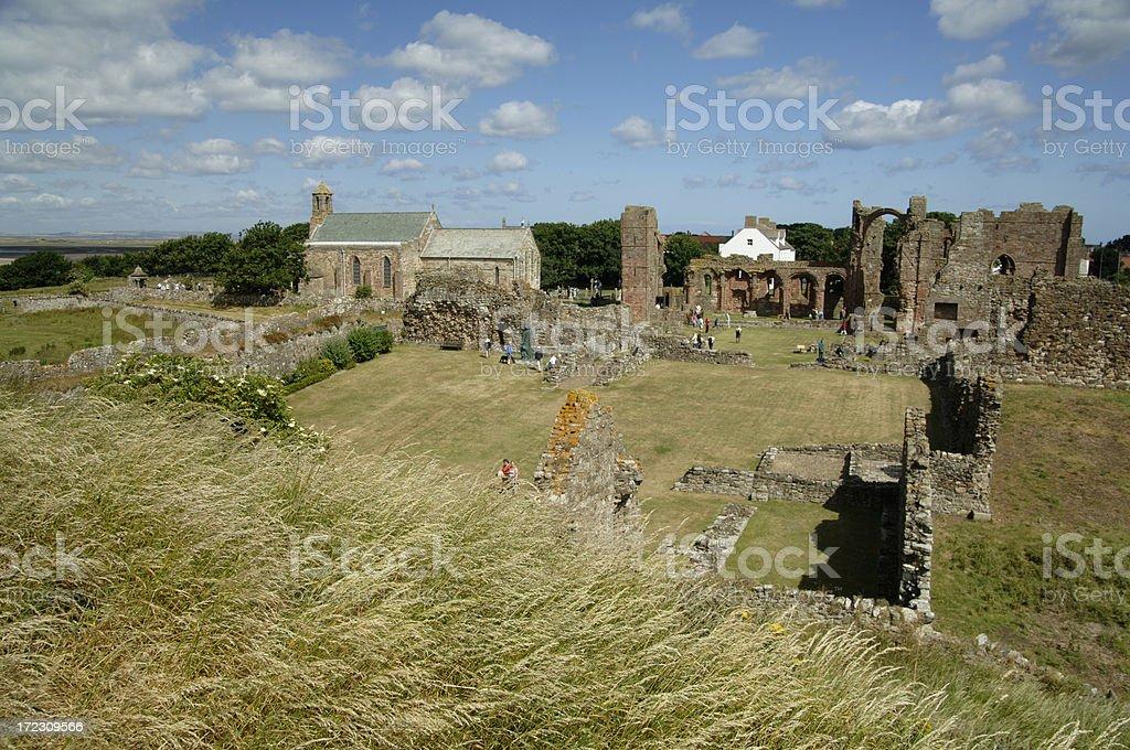 Lindisfarne Priory Northumberland royalty-free stock photo