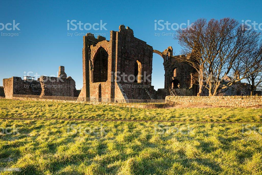 Lindisfarne Priory on Holy Island stock photo