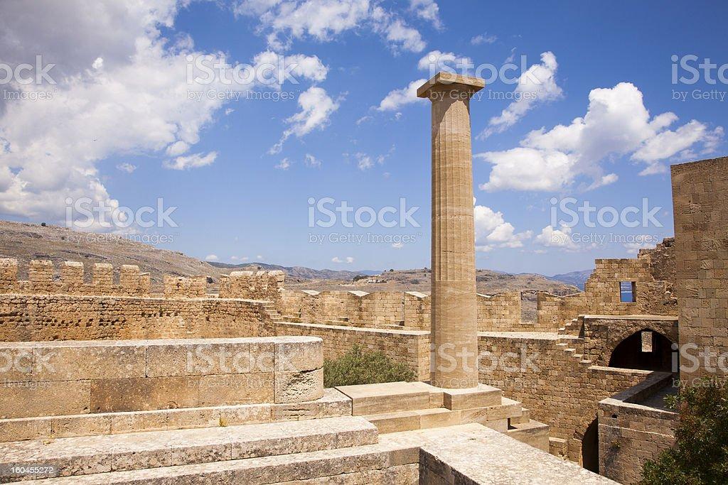Lindos Acropolis, Rhodes, Greece. stock photo