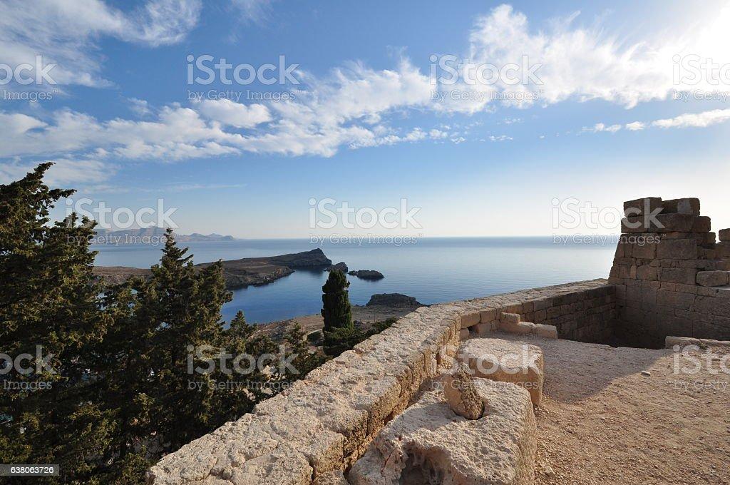 Lindos Acropolis views out to sea stock photo