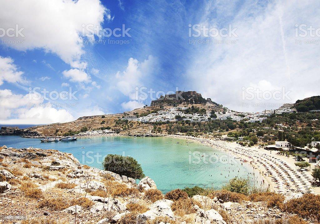 Lindos bay, Rhodes island, Greece stock photo