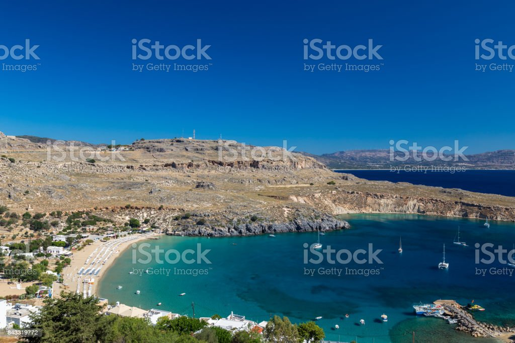 Lindos Bay, Rhodes stock photo