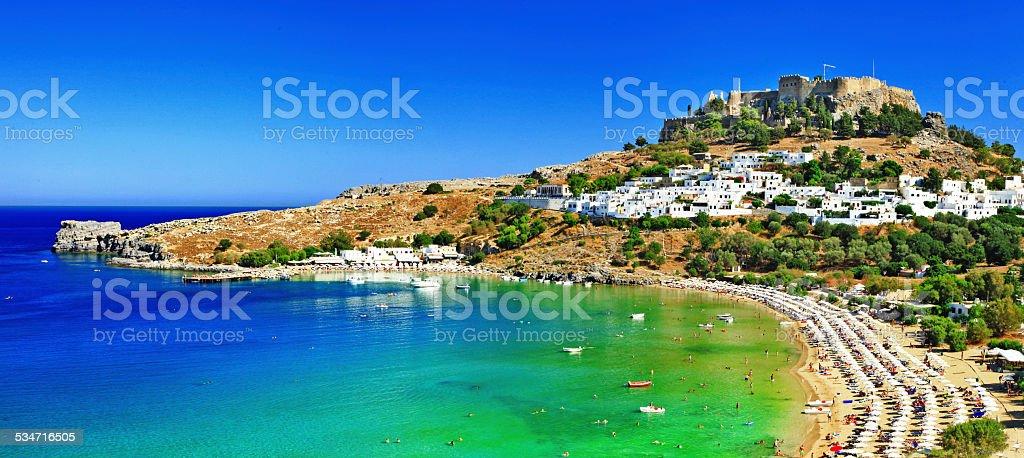 Lindos bay,Rhodes.Greece stock photo