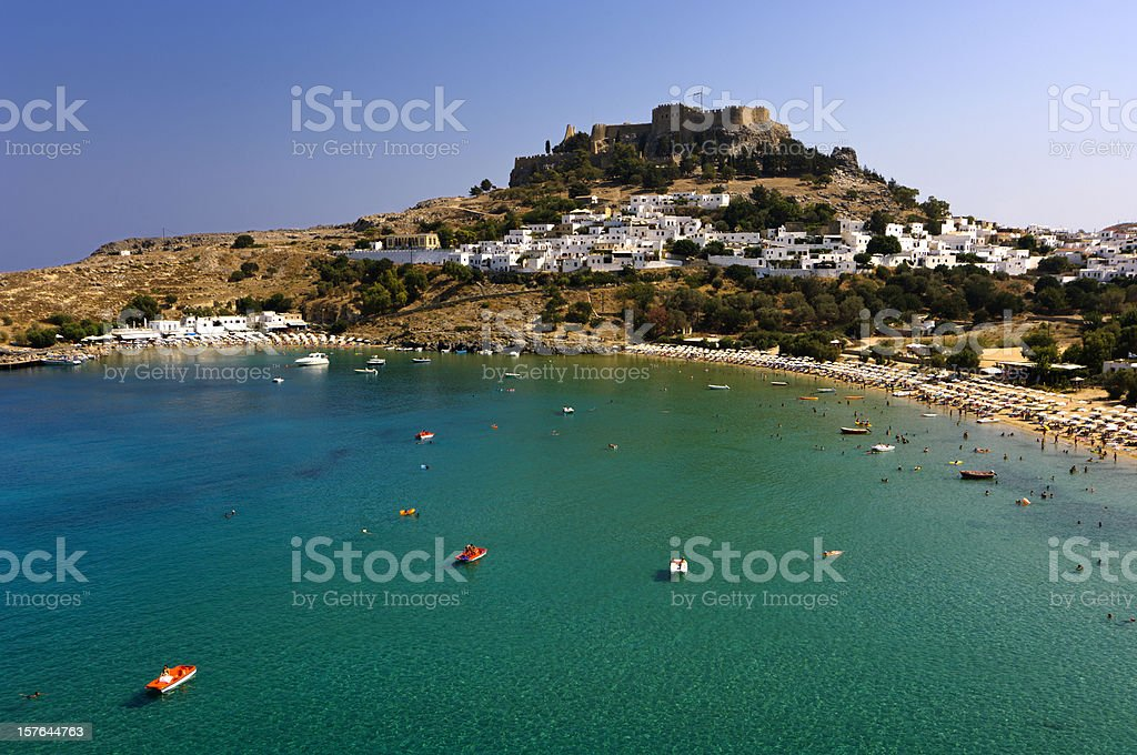 Lindos beach and Acropolis stock photo