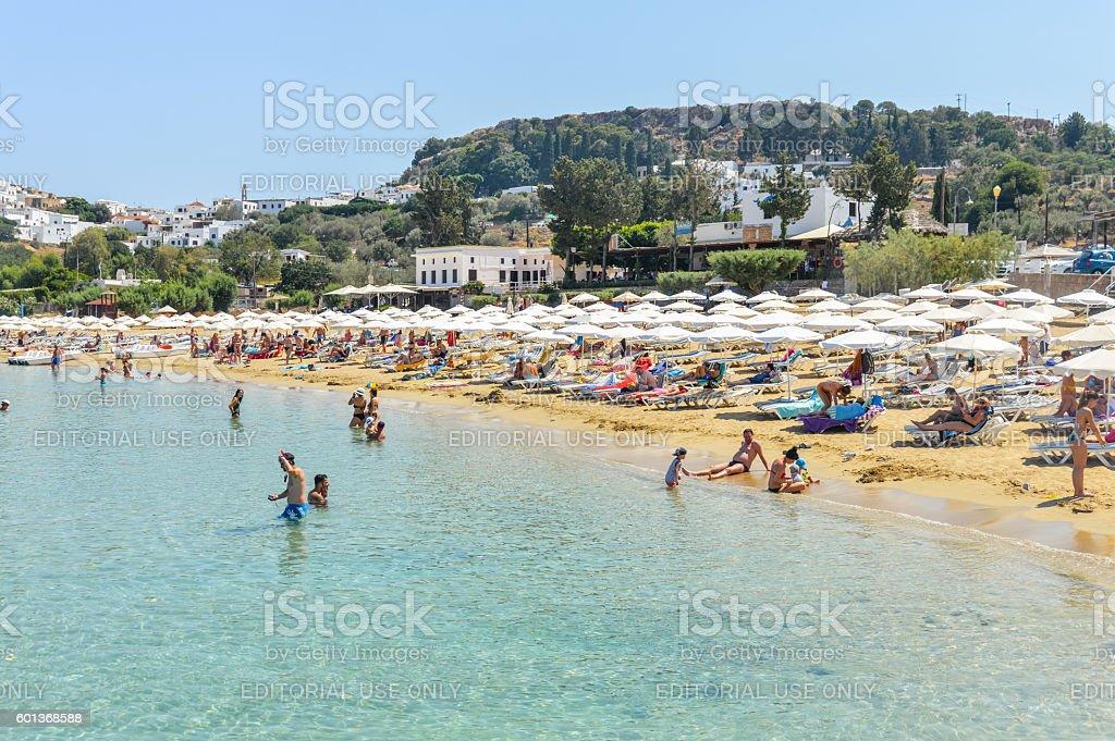Lindos beach in Rhodes, Greece stock photo