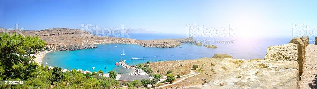 Lindos Beach Island stock photo