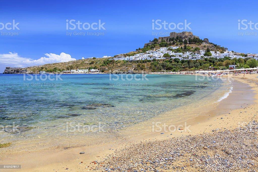 Lindos Beach stock photo