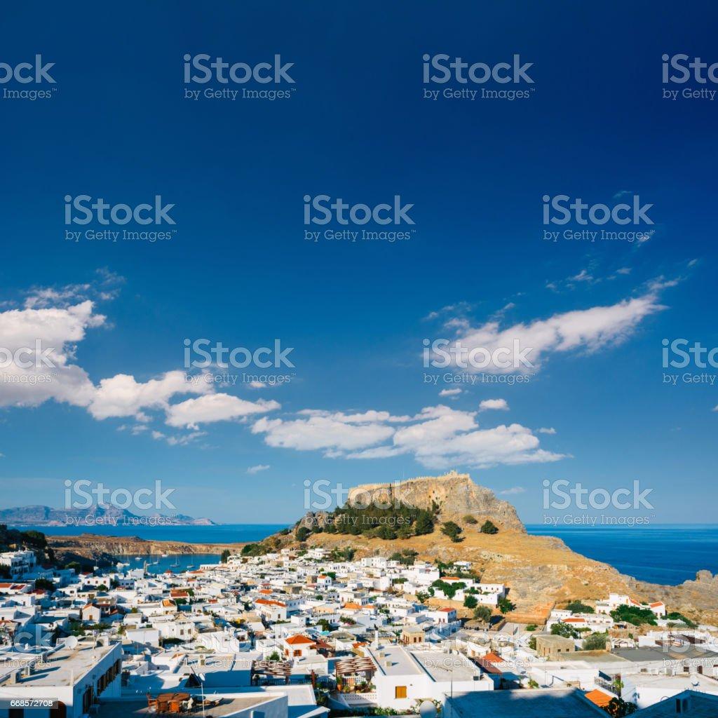 Lindos town, Rhodes stock photo