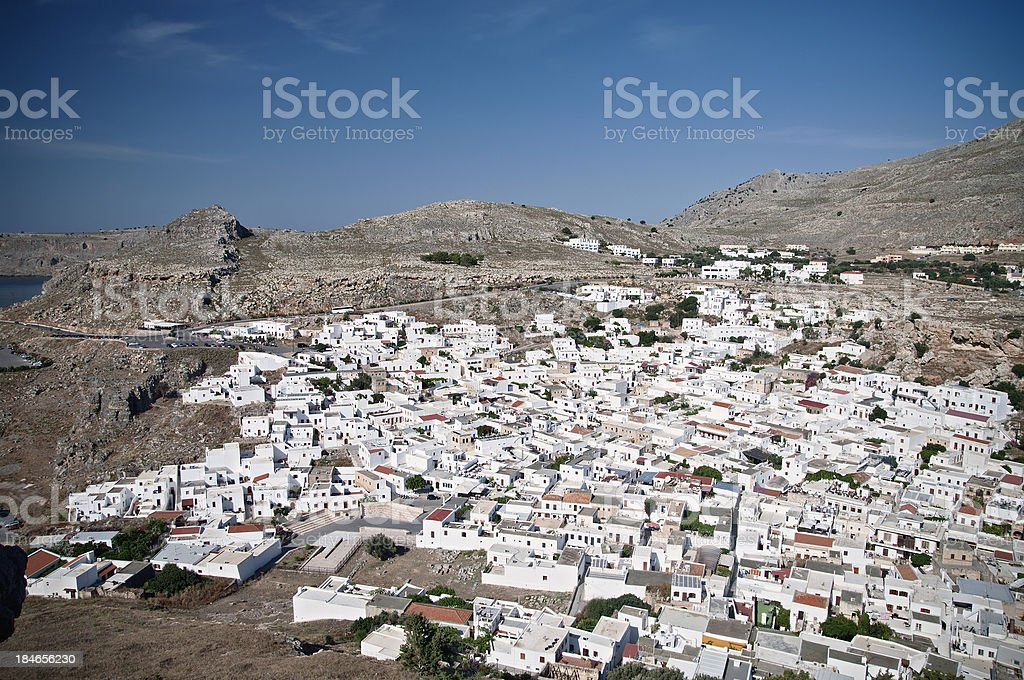 Lindos View from the Acropolis stock photo