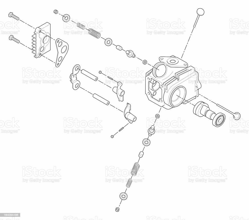 ATV Line Art Cylinder Head stock photo