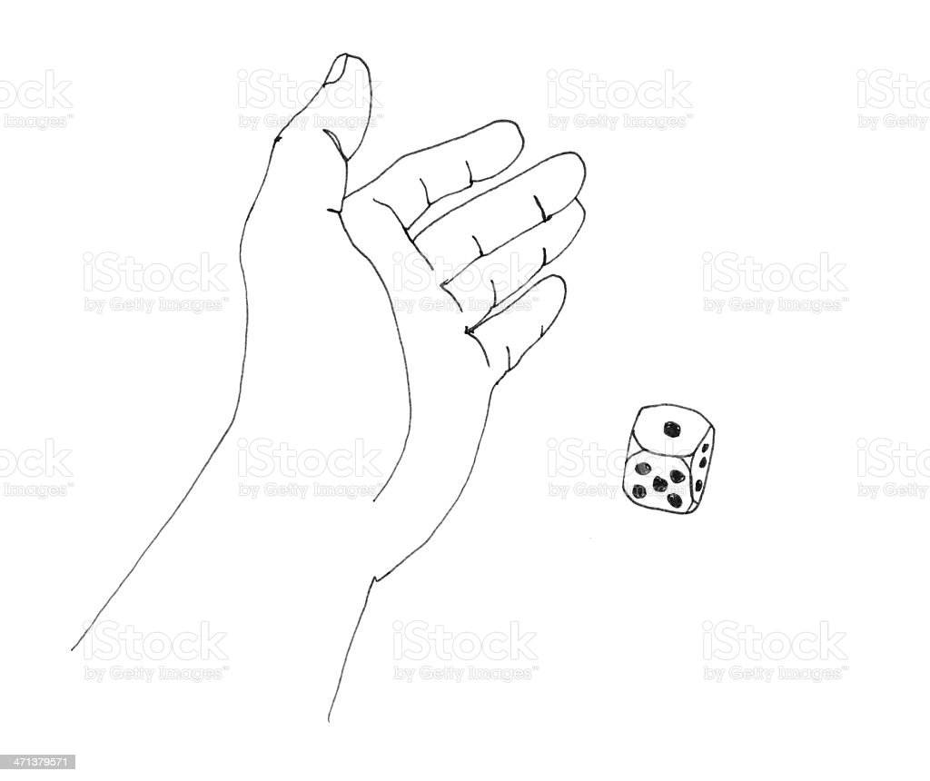 line art illustration scan of a dice scoring ace stock photo