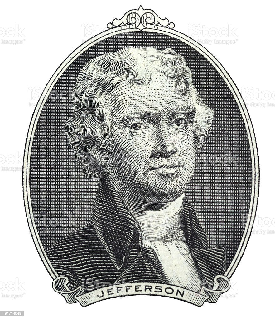 Line Art of Thomas Jefferson From the Two Dollar Bill stock photo