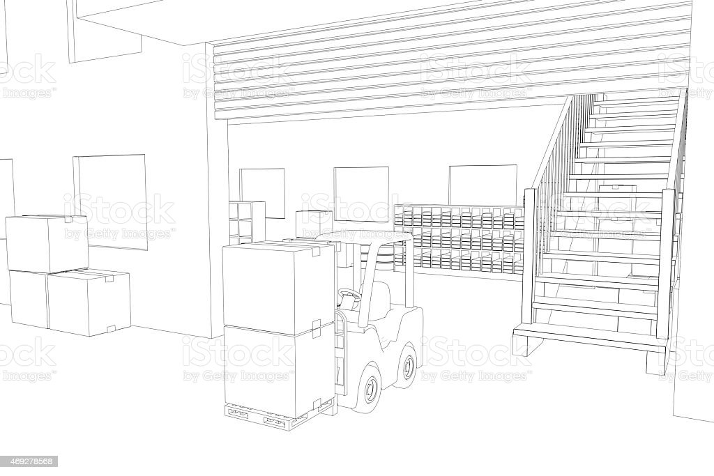 Line drawing of Warehouse stock photo