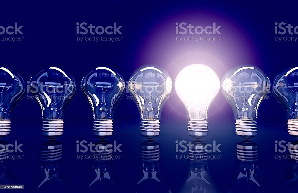 Line  from seven lamps, one lamp shines. stock photo