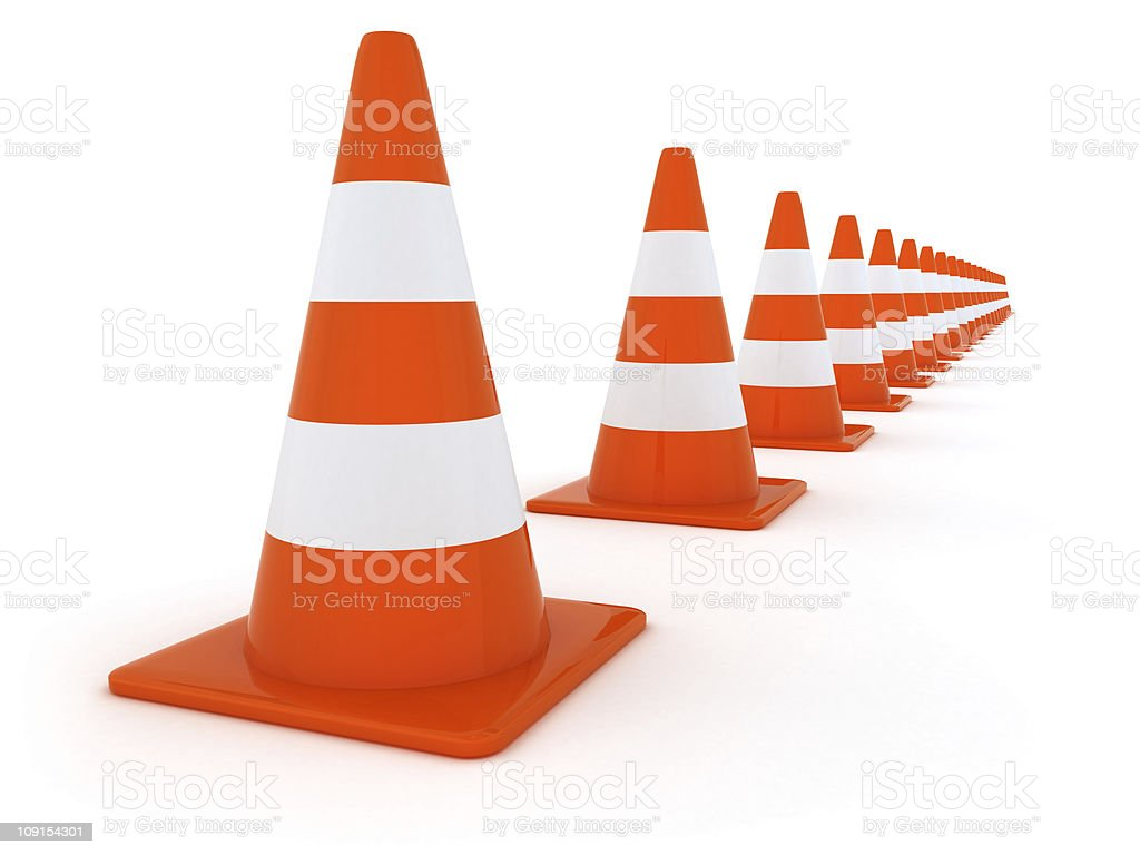 Line from Traffic Cones stock photo