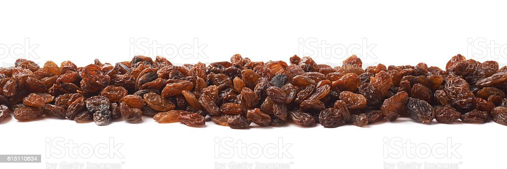 Line made of raisins isolated stock photo