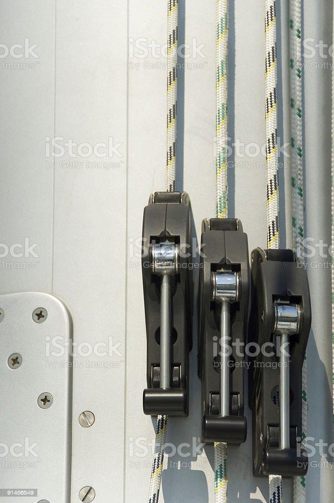 line management on mast stock photo