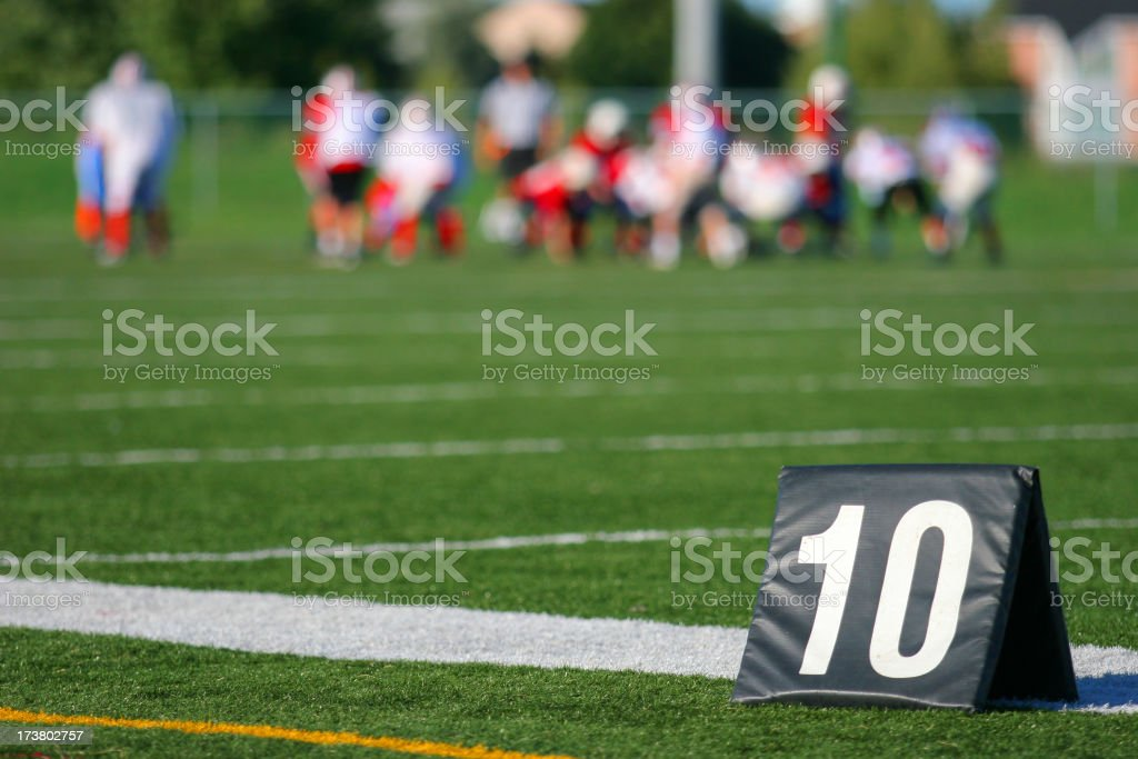 Line of 10 meter indicator in football game royalty-free stock photo