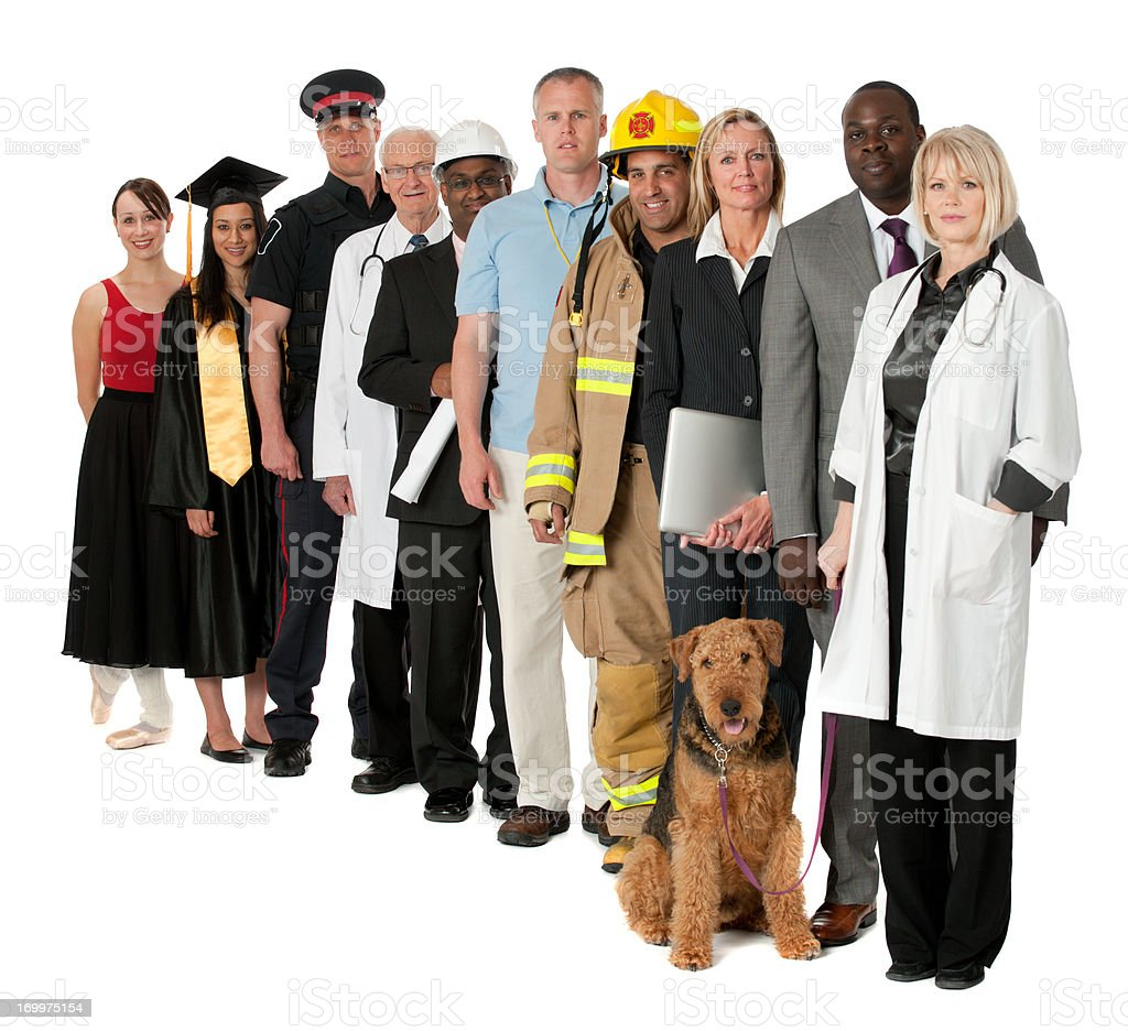 Line of 10 people representing occupations royalty-free stock photo