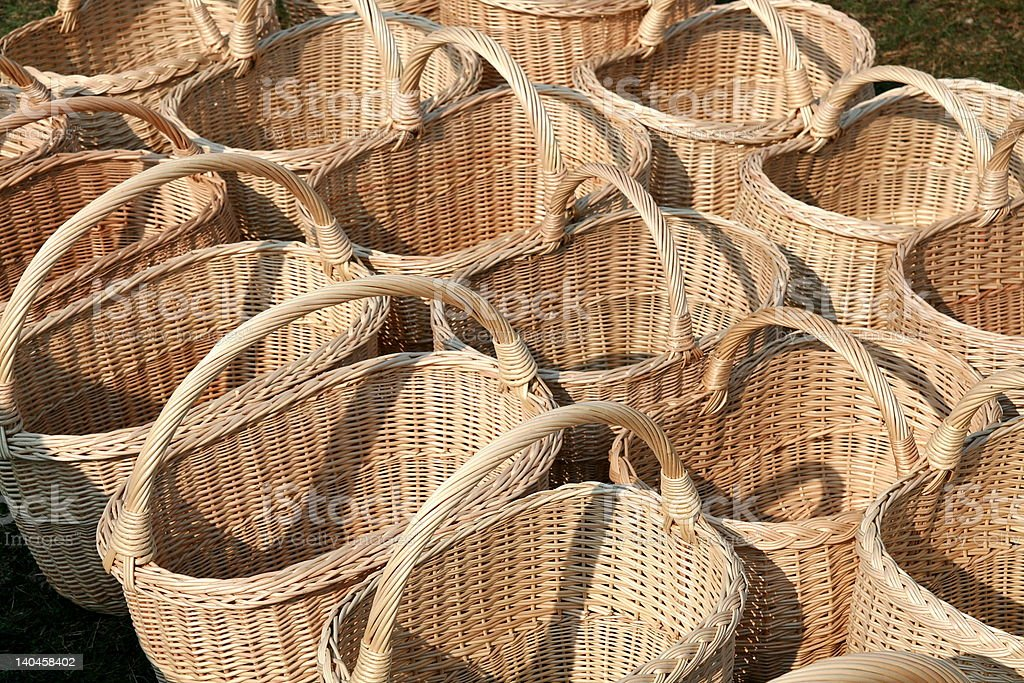 Line of baskets in the marketp royalty-free stock photo