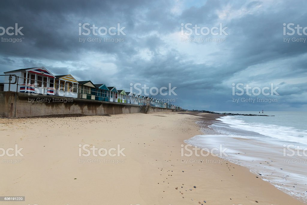 Line of Beach Huts at Southwold Pier, Suffolk stock photo