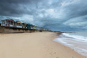 Line of Beach Huts at Southwold Pier, Suffolk