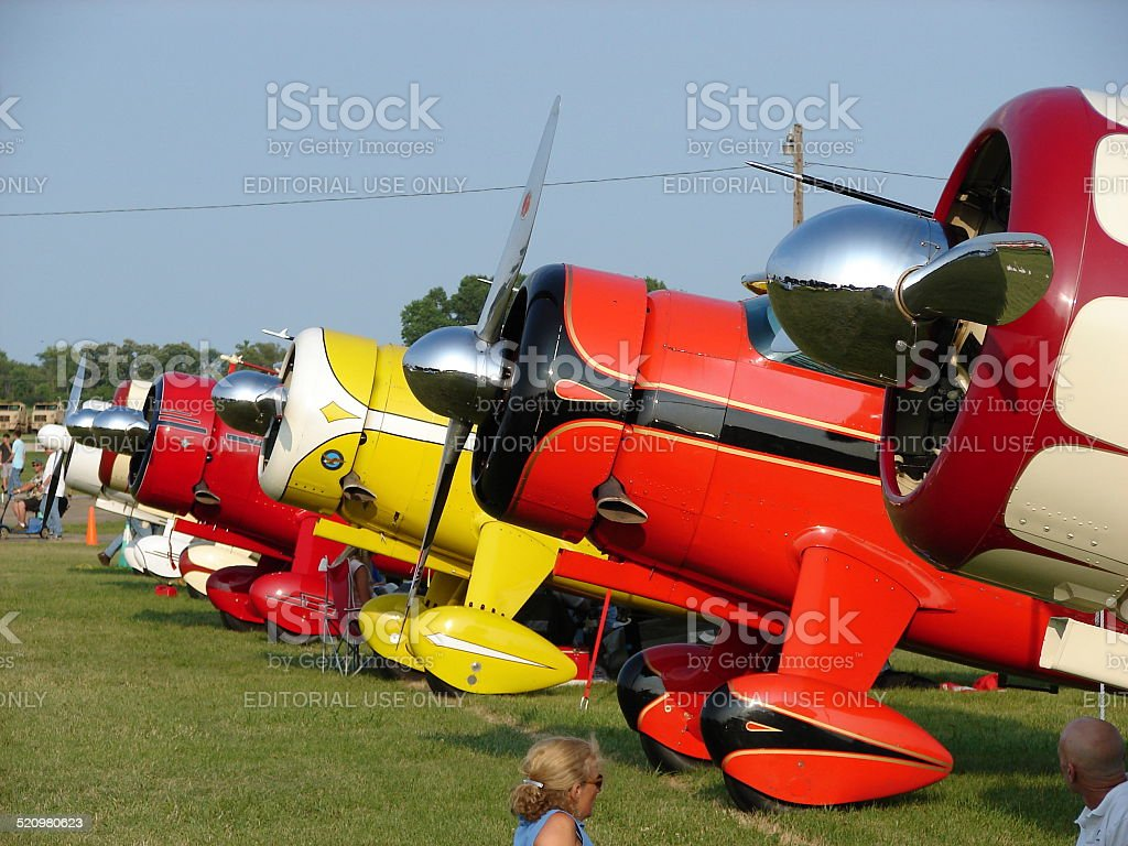 Line of beautifully restored 1940's antique Howard aircraft. stock photo