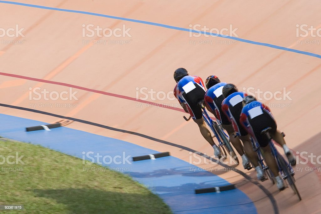 Line of bicycle riders on a race stock photo