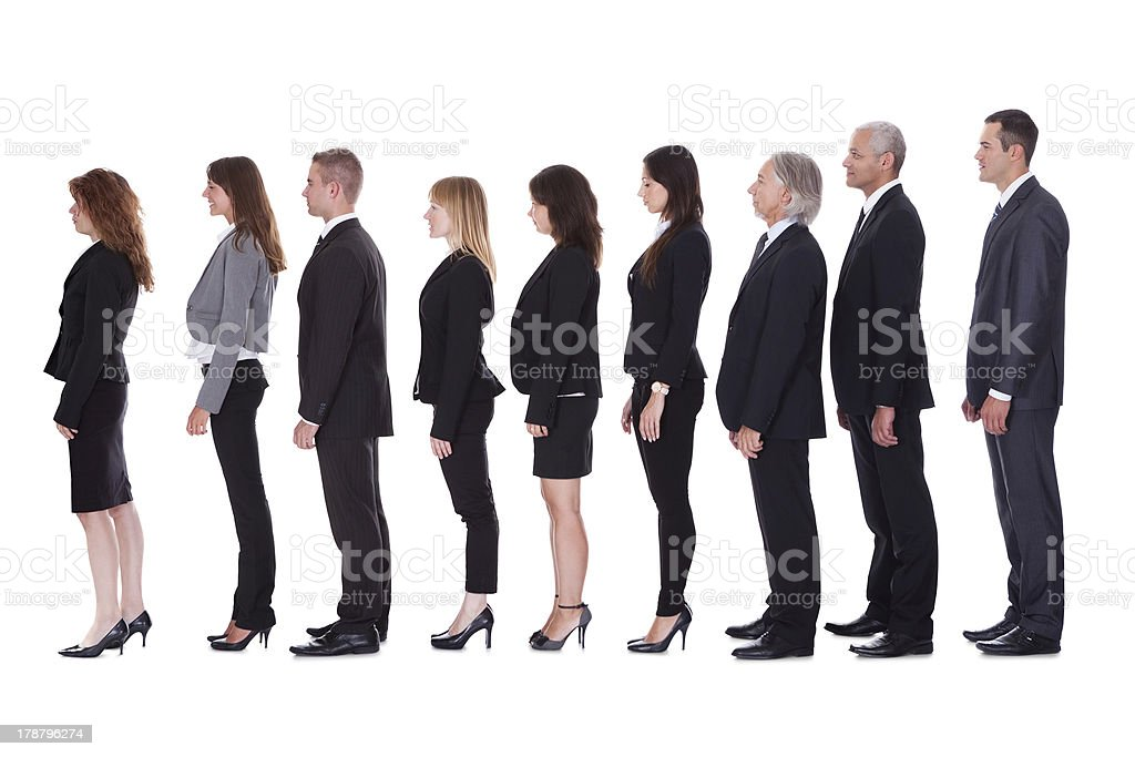 Line of business people in profile royalty-free stock photo