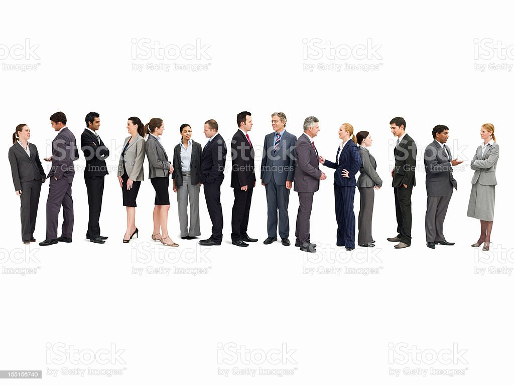 Line of Businesspeople Talking - Isolated stock photo