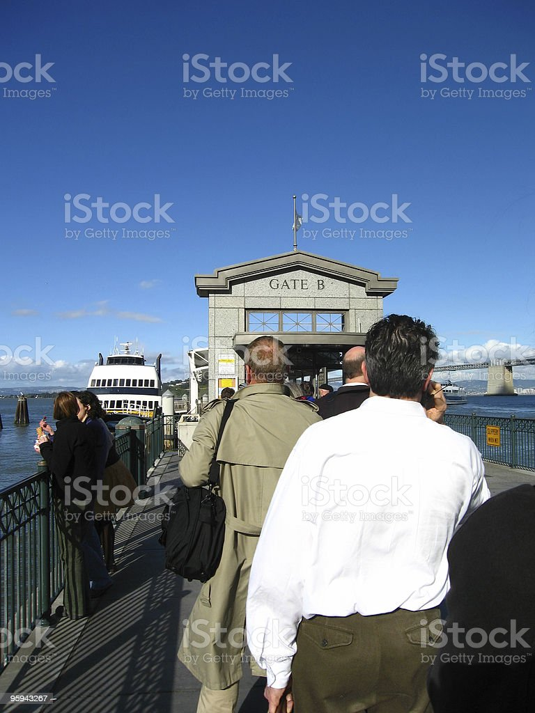 Line of California Ferry Commuters royalty-free stock photo