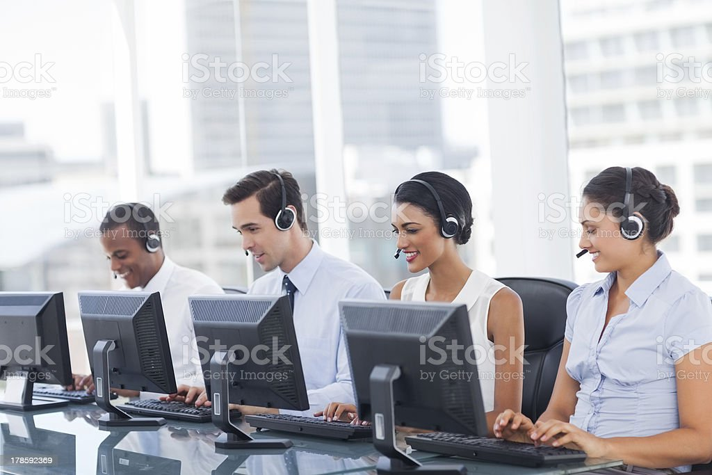 Line of call centre employees stock photo