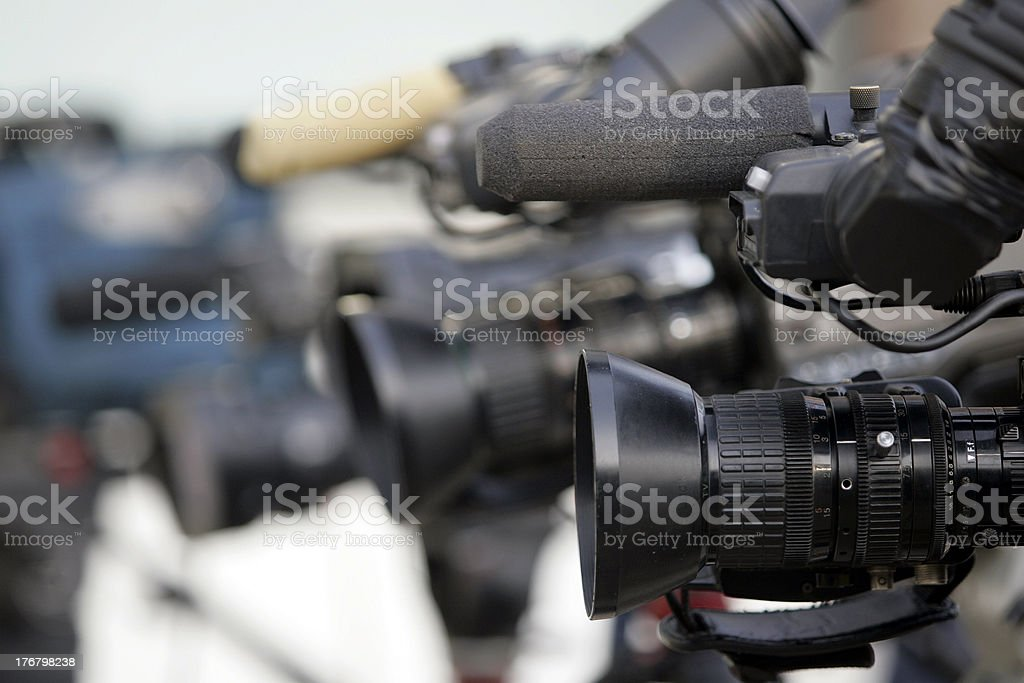 Line of camers stock photo