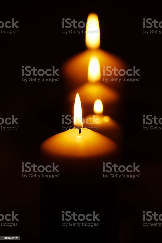 Line of candles stock photo