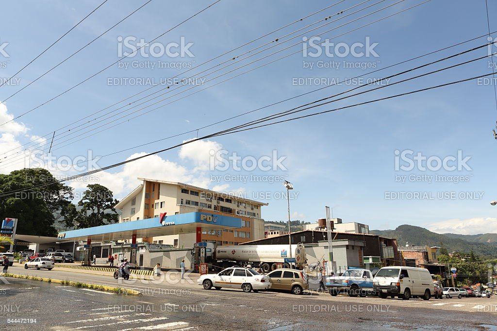 Line of Cars Wating for Gas in Venezuela stock photo