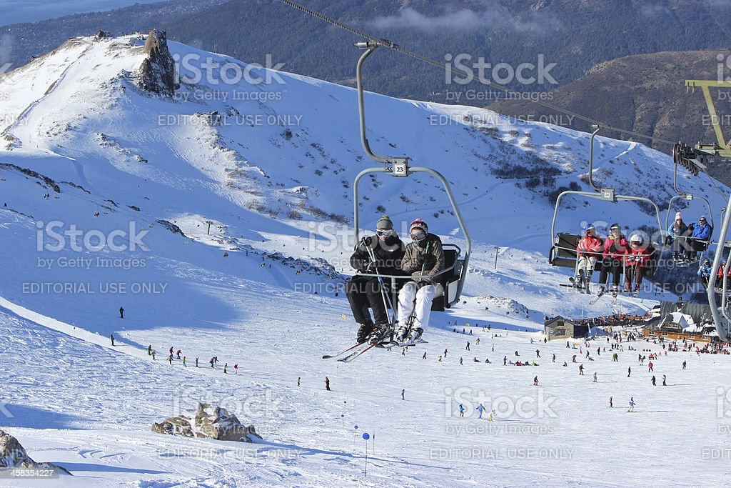 Line of chair lifter at ski station CERRO CATEDRAL -Patagonia stock photo
