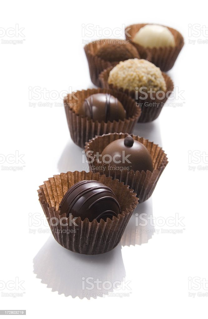 Line of chocolate truffels royalty-free stock photo