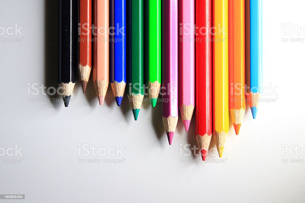 Line of colored pencil stock photo