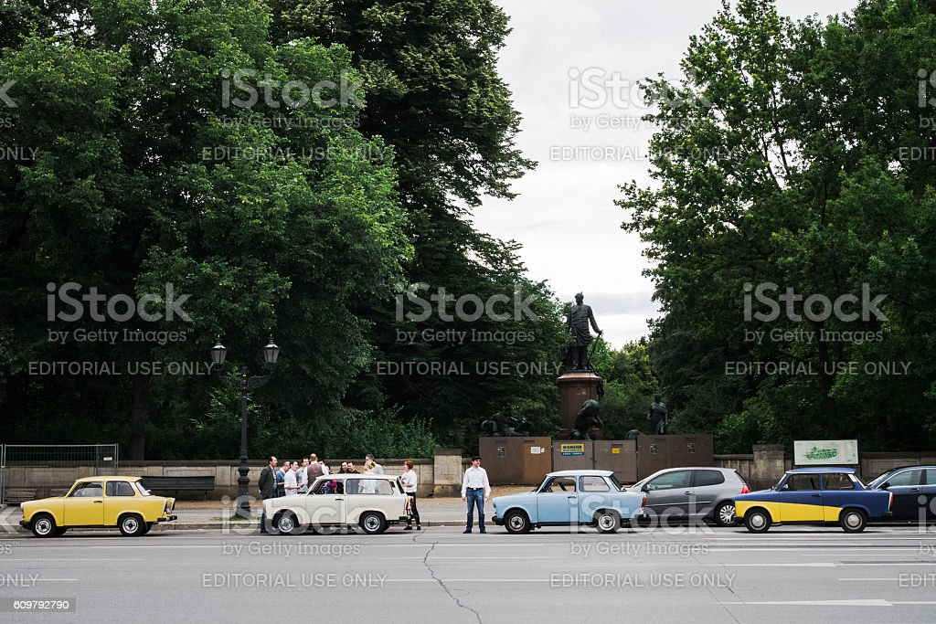 Line of colorful cars in Berlin stock photo