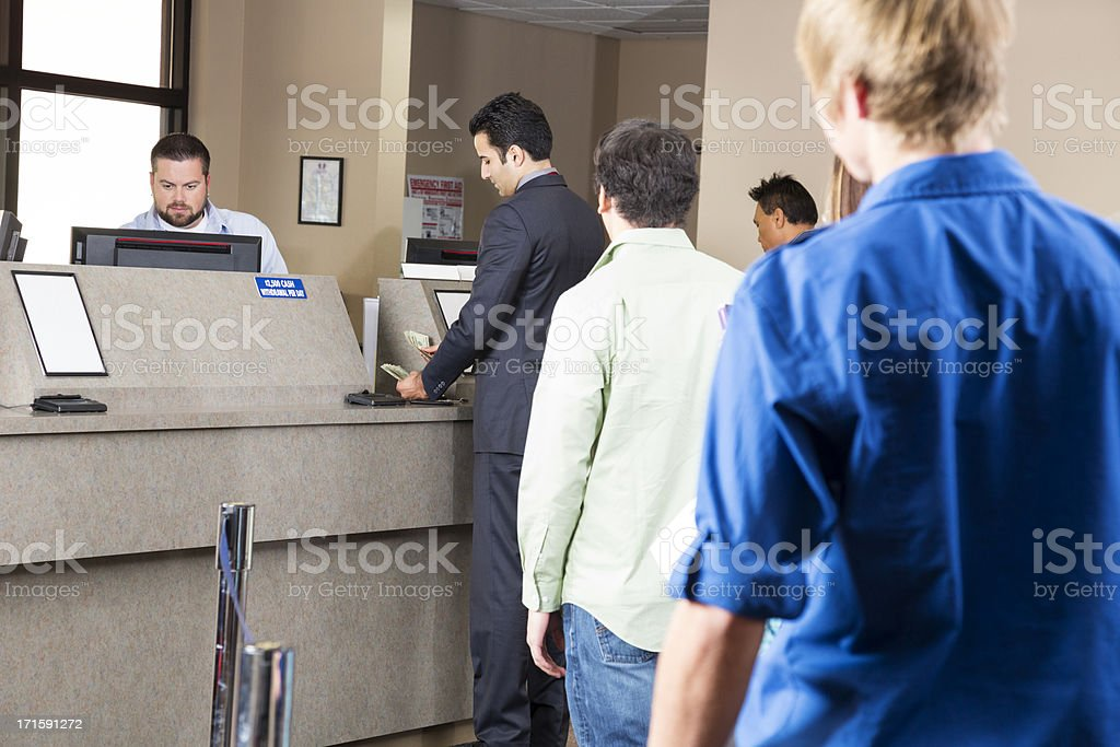 Line of customers at the bank royalty-free stock photo