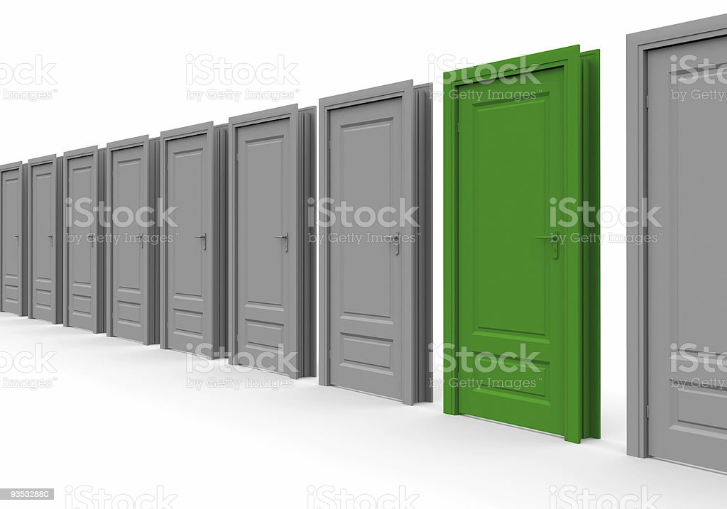 line of doors. One is marked green stock photo