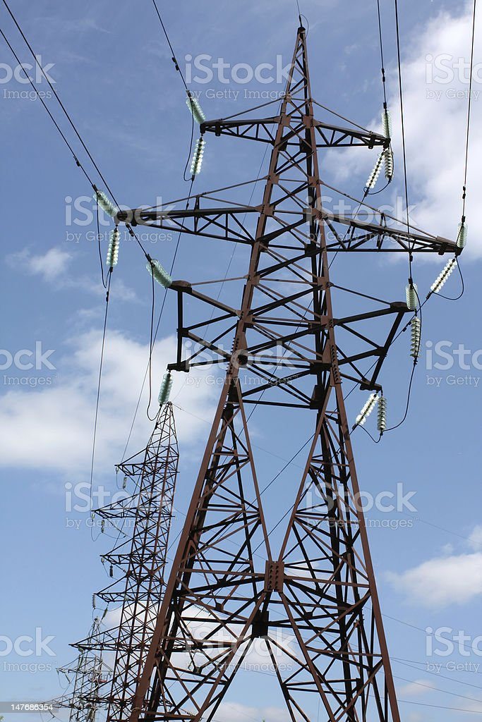 Line of electricity transmissions stock photo