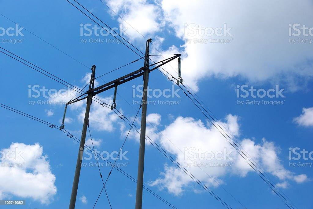 Line of electro-transmissions stock photo